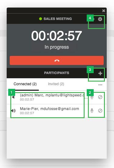 Conference widget dashboard