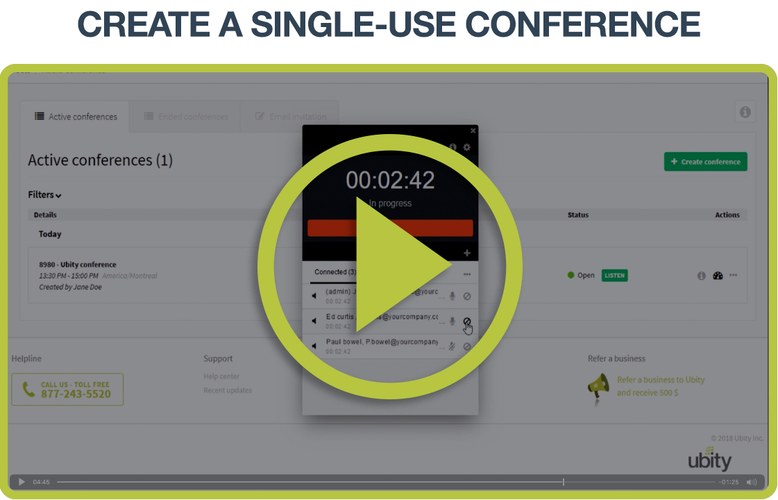 Video Tutorial: Single use conference