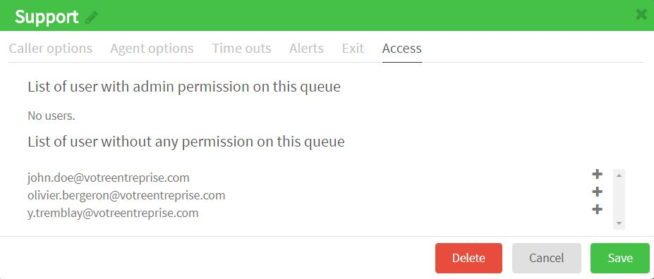 List of users with access to call queues