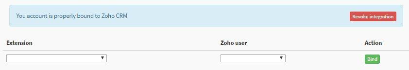 Binding extension with Zoho Phone Bridge integration