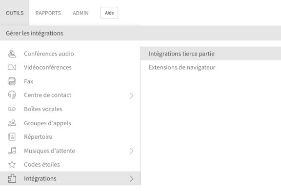 Intégration de Zoho dans le menu Paramètres