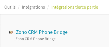 Intégration de Zoho Phone Bridge