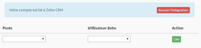 Annuler l'intégration de Zoho d'un compte