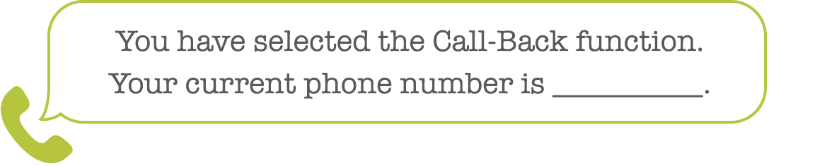 Confirm Call-Back number