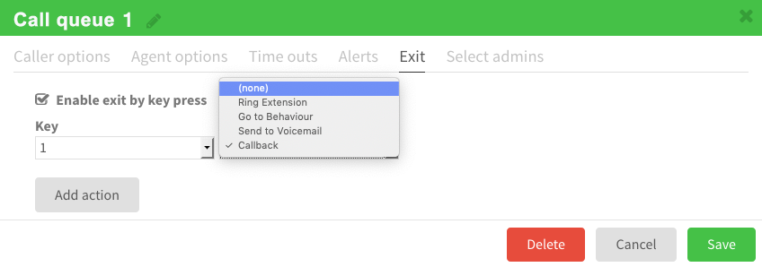 Deactivate the Call-Back option