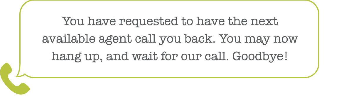 Hang up and wait for Call-Back